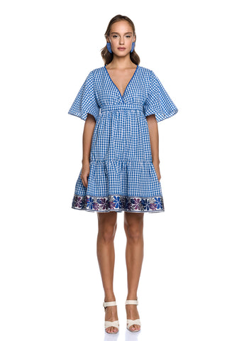 Vichy Check Mini Oversized Dress with Bell Sleeves + Tie Belt