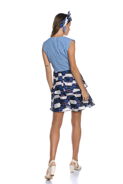 Vichy Check Mini Wrap Dress with a Ruffle Skirt with [An] Motif