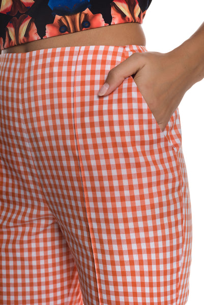 Vichy Check High Rise Slim Fit Cigarette Pants