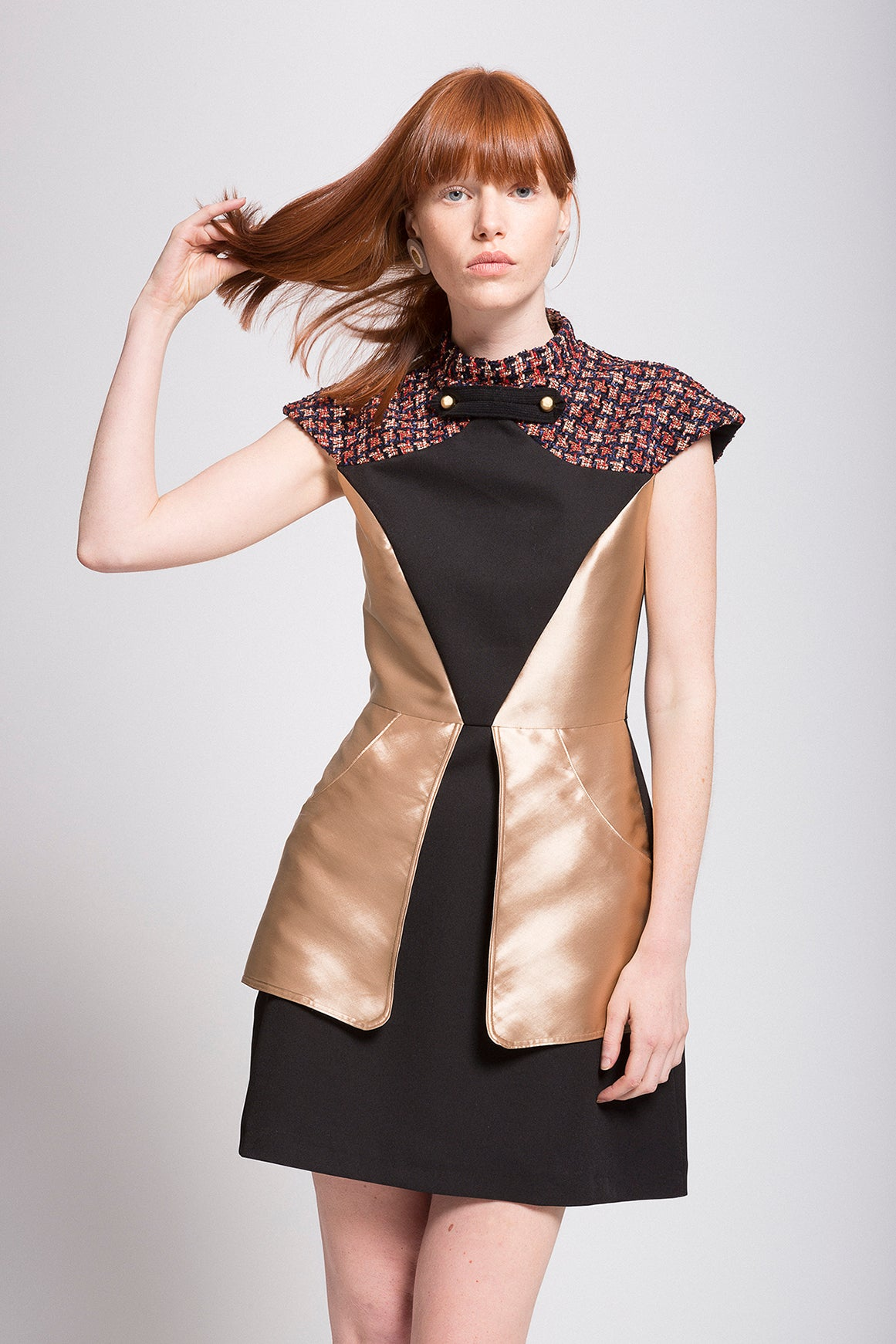 "Black and Gold A-line Mini ""Armor"" Dress"