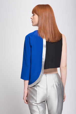Crepe Satin Asymmetrical Two Toned Top