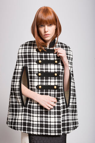 "Boucle ""Secret"" Faux Fur Plaid Cape Coat"