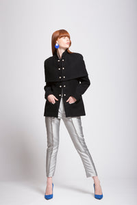 Wool | Cashmere blend Semi Coat with Detachable Capelet