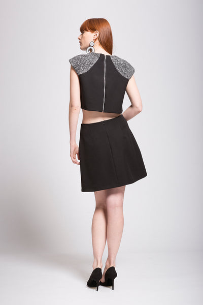 Boucle | Crepe Embellished Cropped Top