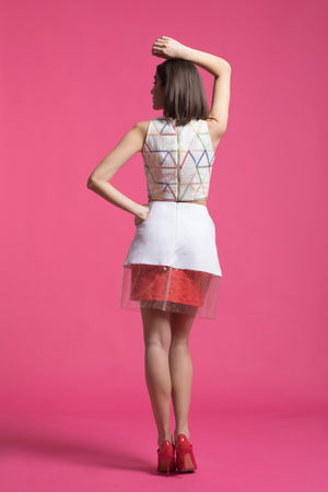 Layered A-Line linen skirt with glitter PVC details