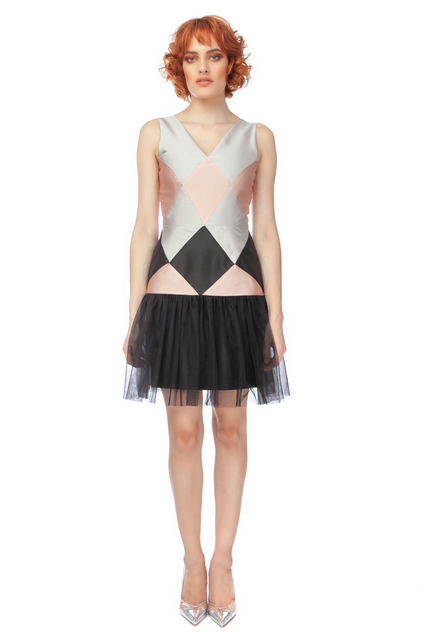 """Diamond"" Colorblocked Drop Waist Mini Dress with Tulle Flounce"