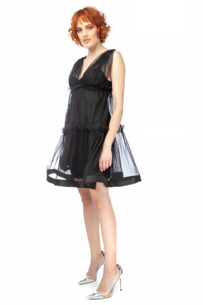 """Black Queen"" Layered Tulle Mini Dress"