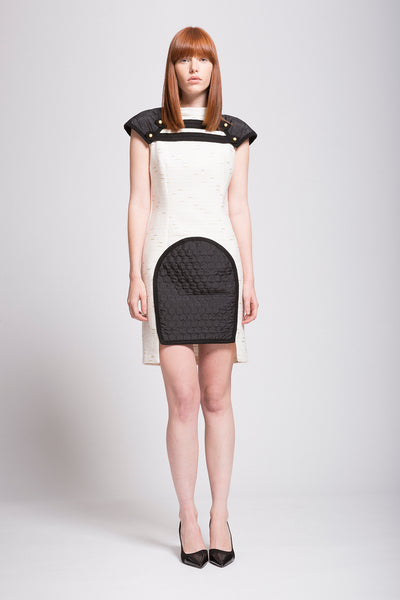 "Boucle | Quilted Black and Ivory High Low ""Armor"" Dress"