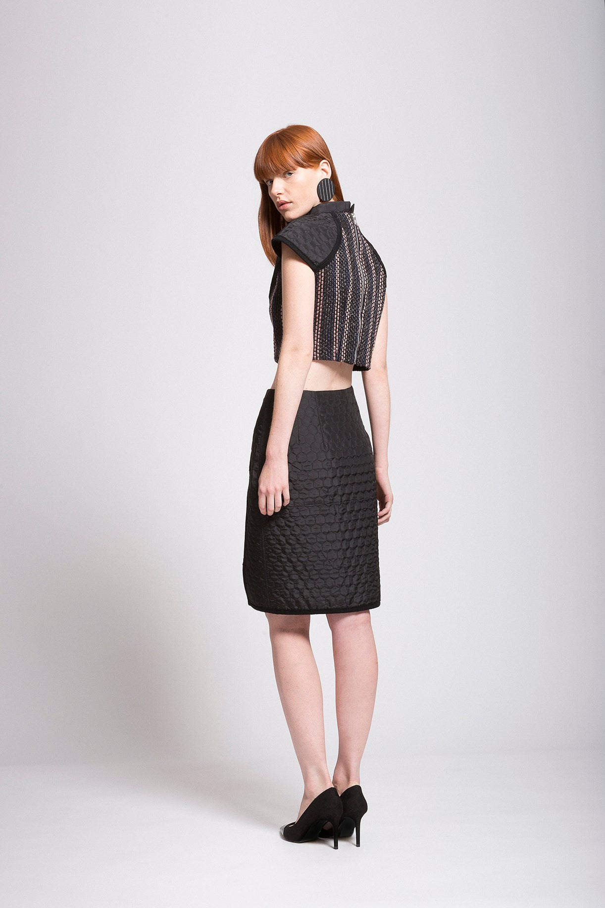 "Quilted | Boucle ""Armor"" High Low Skirt"
