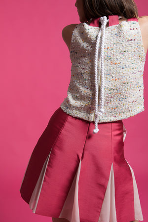 Tweed cropped top with rope shoulder straps