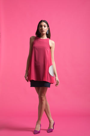 Two toned layered linen-chiffon dress with pockets