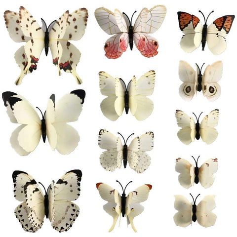 12 Pcs Of 3D Butterfly Wall Stickers And Fridge Deco