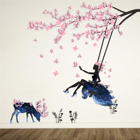 3D Flower Fairy Swing Wall Stickers For Kids Room Wall Deco