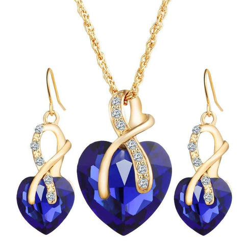 Austrian Crystal Heart Jewelry Set