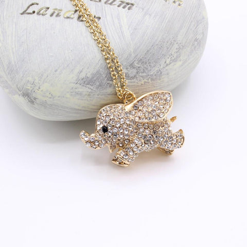 Elephant Crystal Necklace Pendants For Women