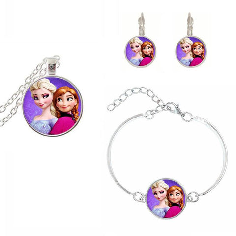 Elsa And Anna Frozen Jewelry Set - Bracelet, Necklace And Earrings