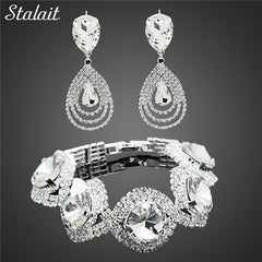 Exquisite Bracelet And Earrings - Wedding Bridal Jewelry Set