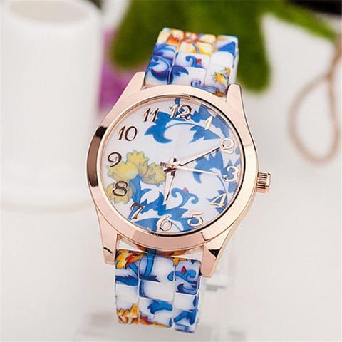 Flower Printed Luxury Women Quartz Watch