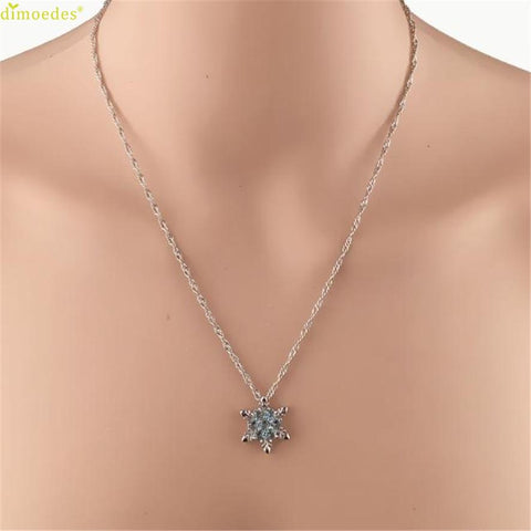 Frozen Crystal Snowflake Pendant And Necklace