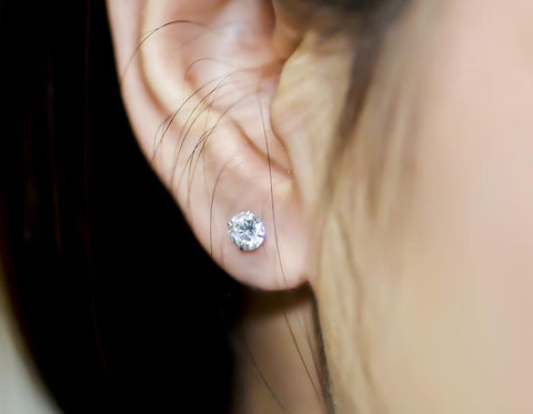 Genuine Swarovski Zirconia 925 Sterling Silver Stud Earrings - Women Jewelry Gift