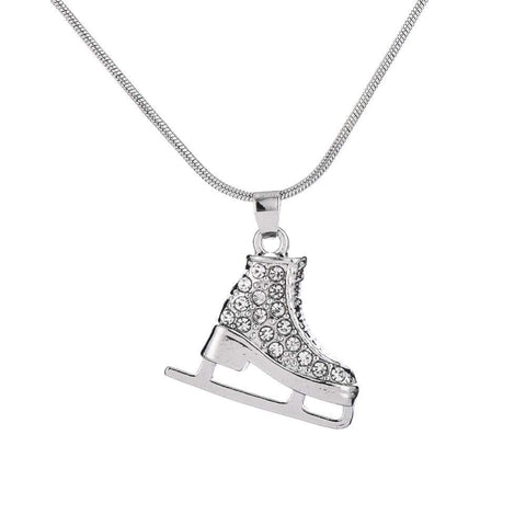 High Quality Silver 3D Ice Skate Crystal Pendant Necklace