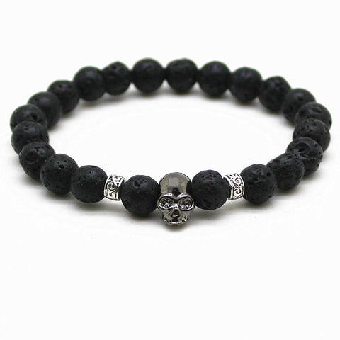 Natural Black Lava Beads And Skull Bracelet