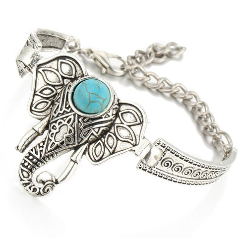 Rhinestones Crystal Blue Stone Silver Bracelets For Women