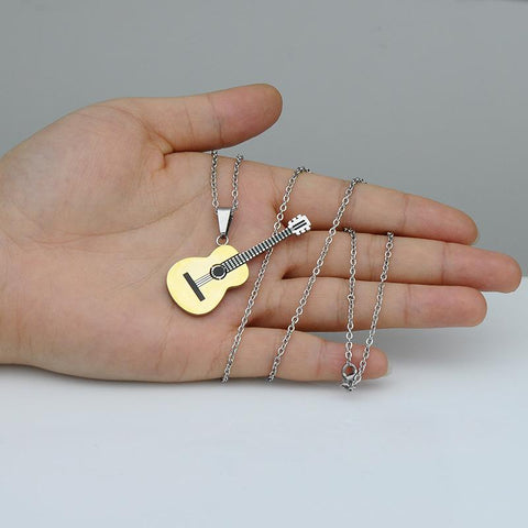 Titanium Stainless Steel Music Guitar Pendant Necklace For Men