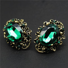 Vintage Fashion Women Crystal Stud Earrings - Rhinestone Jewelry