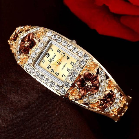Women Luxury Crystal Flower Bracelet Wristwatch