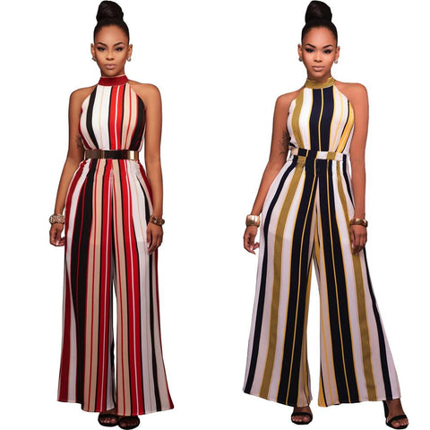 Women Sexy Vertical Striped Jumpsuit