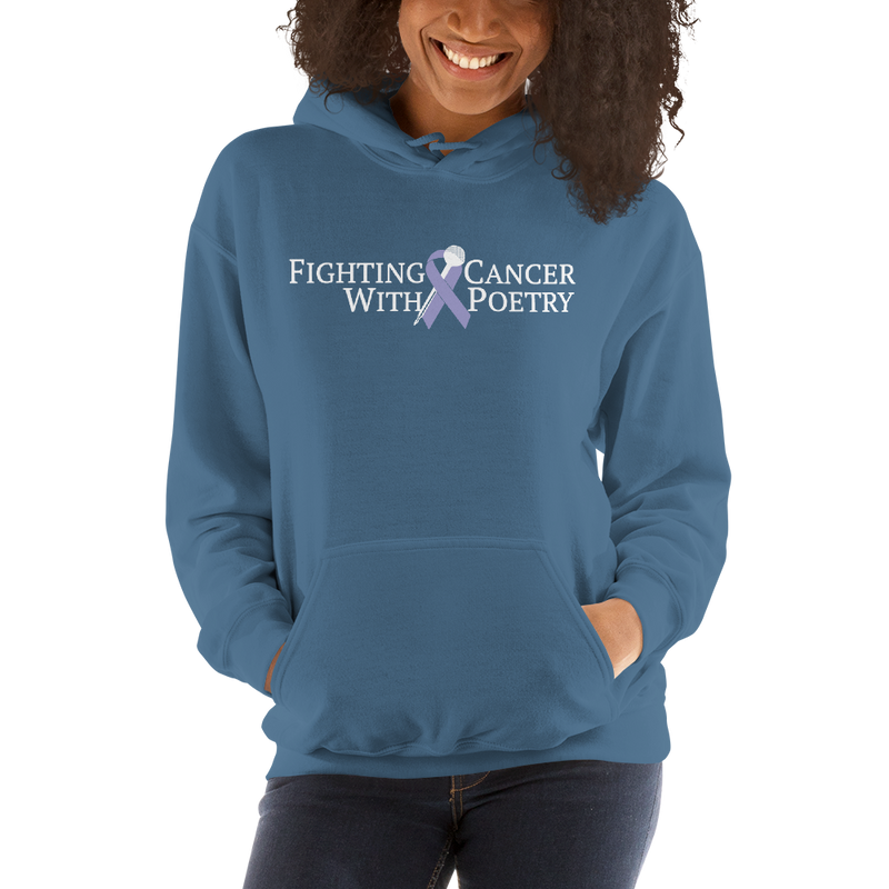 Fighting Cancer With Poetry Unisex Hoodie (Colorectal)