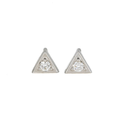 White Diamond Triangle Studs