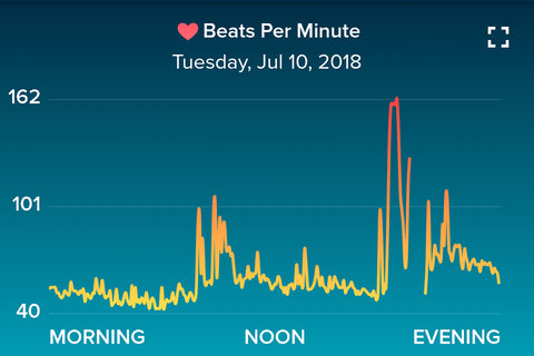 Example of how your heart rate changes in a day