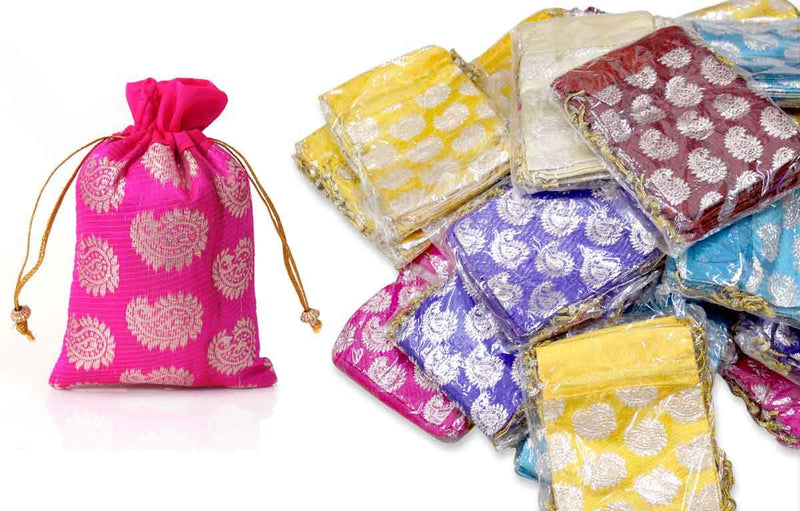 250 Mango brocade printed string bags for Wedding