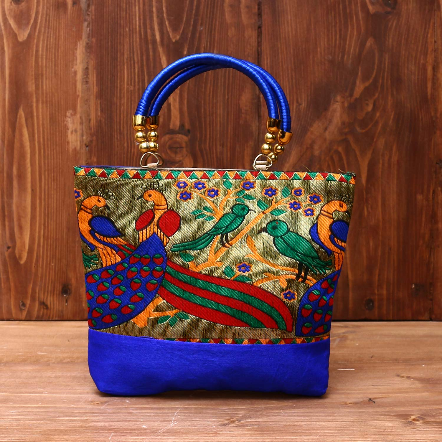 Hand bag raw silk with Peacock design - W3826