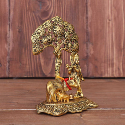 White metal Cow Krishna under tree gold finish - W3673 W3673 at $3.78 by Wedtree