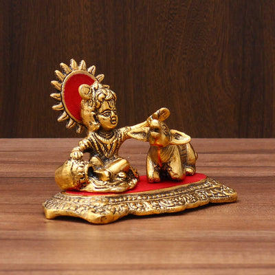 White Metal Golden Balkrishna with Cow - W3579 W3579 Return gift at $7.90