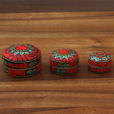 Round Kum Kum Box Set of 3