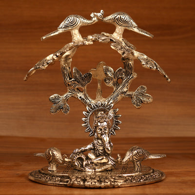 White metal Oxidised Bal Krishna under Tree