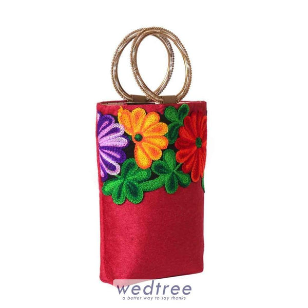 Bangle Type Velvet Clutch Purse With Colourful Flower Thread Embriodery Clutches & Purses