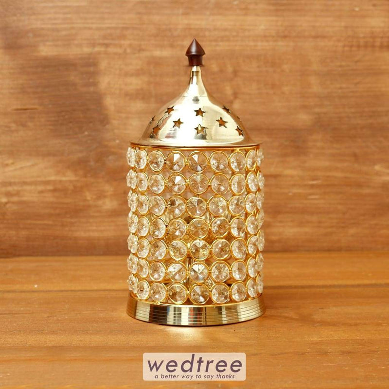 Brass Crystal Diya 3 Inch - W4111 Diyas & Candle Holders