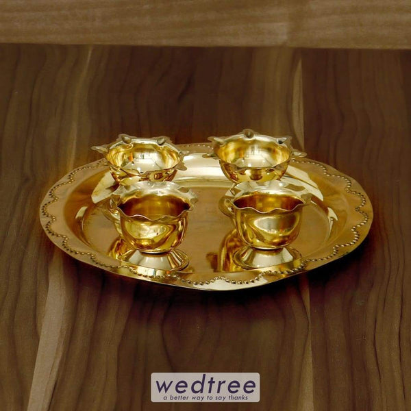 Brass Pooja Thali With Diya - W4301 Pooja Utilities