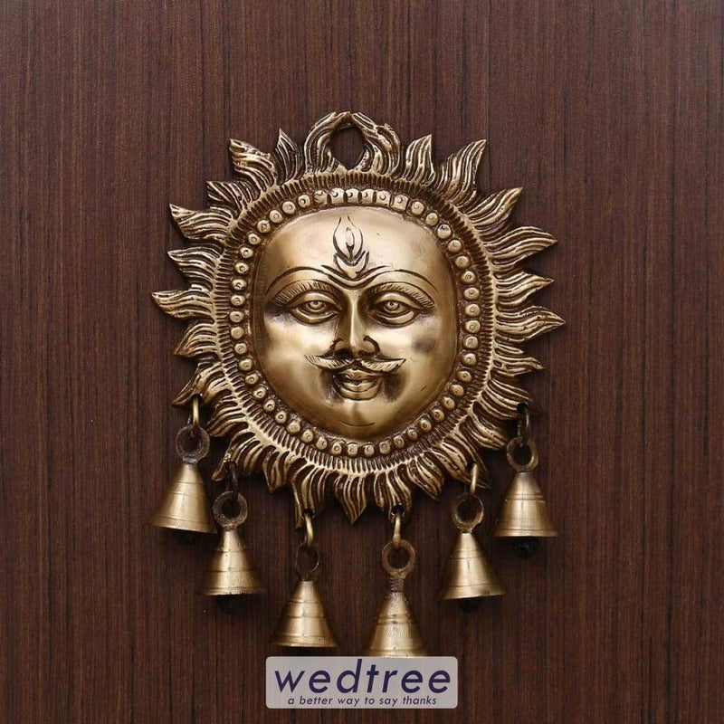 Brass Wall Hanging Sun Face With Bell Home Decors