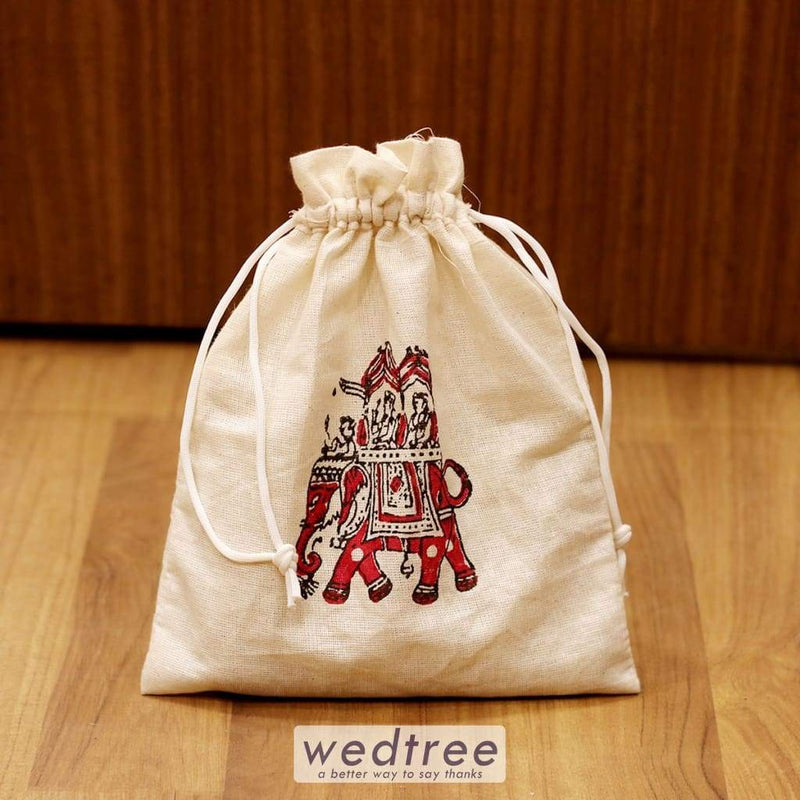 Cloth String Bag With Hand Block Print - W4240 Potli Bags