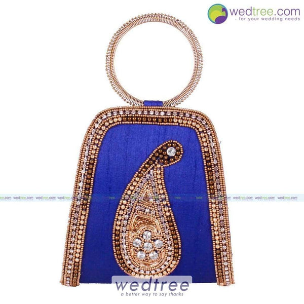 Clutch Bag - Bangle Type With Golden Mango Motif Clutches & Purses