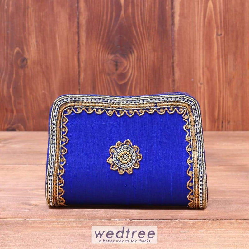 Clutch Bag - Cotton Silk With Antique Gold Embroidery Clutches & Purses