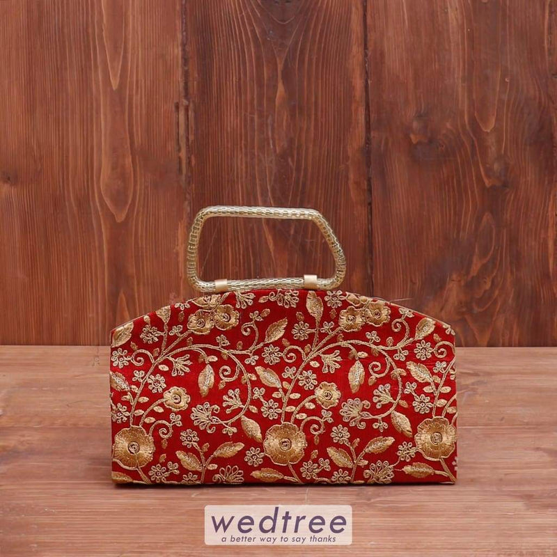 Clutch Purse Floral Golden Embroidery - W4046 Clutches & Purses