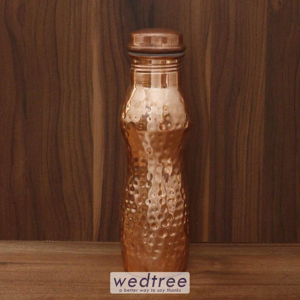 Copper Bottle Curve Shape With Hamered Design - W4513 Utensils