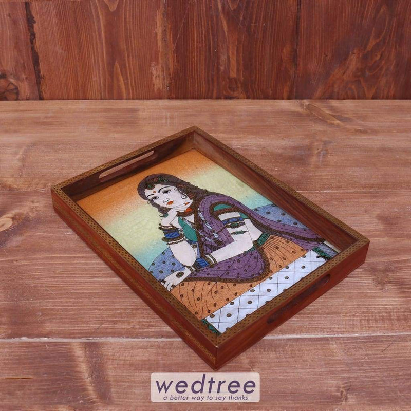 Dark Wood Gem Stone Painting Tray 12 X 9 Inch - W3924 Trays & Plates